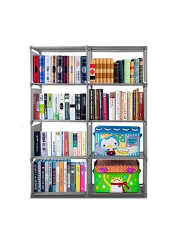 kaluo-adjutable-book-shelving-4-tier-8-cube-diy-open-bookcase-shelf-storage-bookshelf-for-home-office-[us-stock]-(pink) by kaluo
