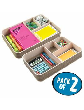 mdesign-office-supplies-desk-organizer-tray-for-calculators,-notepads,-pens---pack-of-2,-4-sections,-pearl-champagne by mdesign