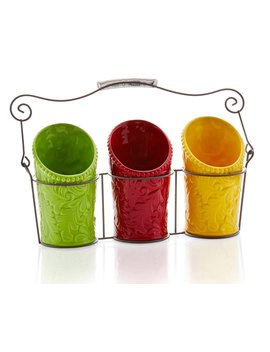 kitchen-utensil-holder-set-(4-pieces)---3-ceramic-crocks-&-1-portable-wire-caddy---multi-color by ienjoyware
