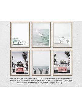 california-beach-art,-santa-monica-beach,-lifeguard-tower,-beach-set-of-6,-retro-van,-surf-decor,-set-of-6-prints,-coastal-wall-art,-photo by etsy