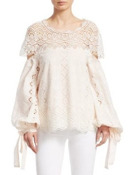 lace-cotton-bell-sleeve-top by jonathan-simkhai