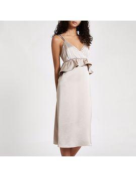 silver-satin-frill-strappy-slip-dress by river-island