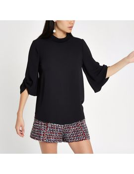 black-twist-cuff-blouse by river-island