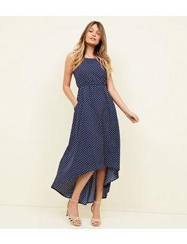 blue-vanilla-navy-polka-dot-maxi-dress by new-look