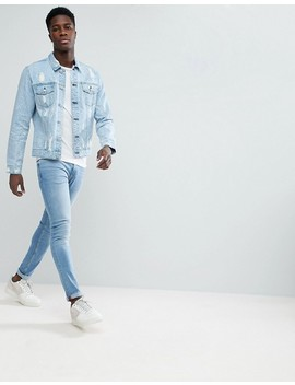 only-&-sons-denim-jacket-with-bleaching-and-distress by only-&-sons