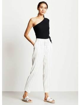 White & Navy Paperbag Trouser by Mint Velvet