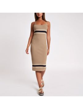beige-stripe-rib-bodycon-midi-dress by river-island