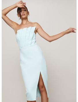 Scuba Pleat Fan Midi Bandeau Dress by Miss Selfridge