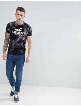 hollister-iconic-applique-logo-marl-stripe-t-shirt-in-black by hollister