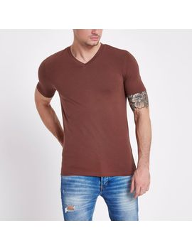 brown-muscle-fit-v-neck-t-shirt by river-island