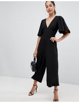 asos-design-tea-jumpsuit-with-empire-seam-and-flutter-sleeve by asos-design