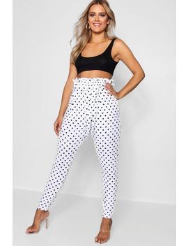 plus-lola-polka-dot-paper-bag-waist-trouser by boohoo