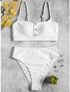 ribbed-buttons-high-waisted-bikini---white-m by zaful