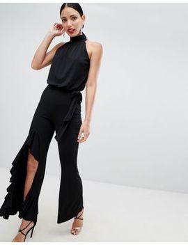 flounce-london-high-neck-wide-leg-jumpsuit-in-black by flounce-london