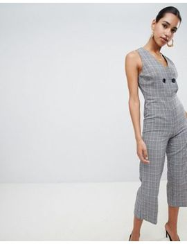 boohoo-button-detail-check-culotte-jumpsuit by boohoo