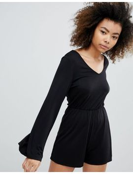 monki-long-sleeve-playsuit by monki