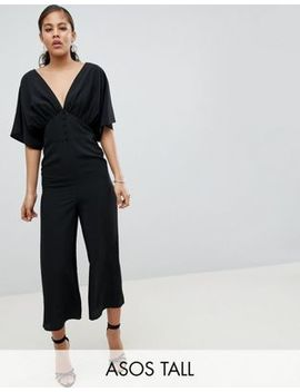 asos-design-tall-tea-jumpsuit-with-kimono-sleeve-and-button-detail by asos-design