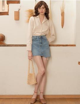 silky-beige-shirt by pixie-market