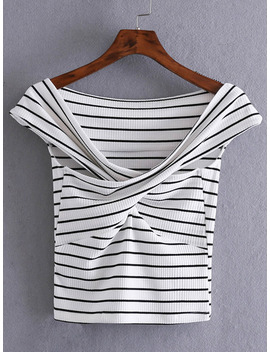 black-and-white-striped-crisscross-front-crop-t-shirt by sheinside
