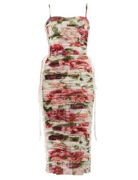 peony-and-rose-print-tulle-midi-dress by dolce-&-gabbana