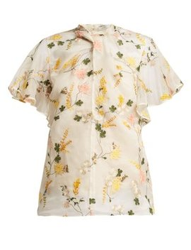 kirwin-mariko-meadow-silk-organza-blouse by erdem