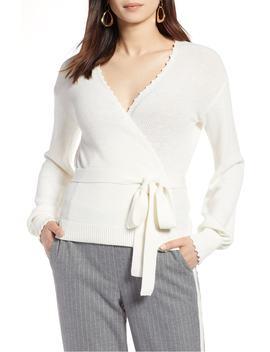 crochet-edge-wrap-style-sweater by halogen®