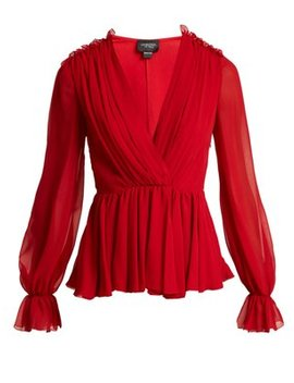 gathered-silk-chiffon-blouse by giambattista-valli