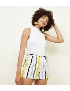white-multi-stripe-tie-waist-shorts by new-look