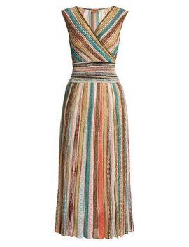 metallic-striped-v-neck-knitted-dress by missoni