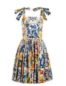 majolica-print-cotton-poplin-mini-dress by dolce-&-gabbana