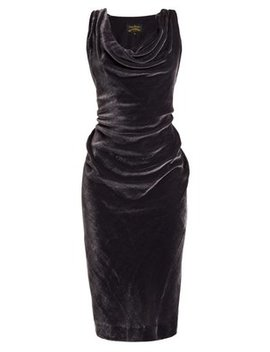 virginia-ruched-velvet-midi-dress by vivienne-westwood-anglomania