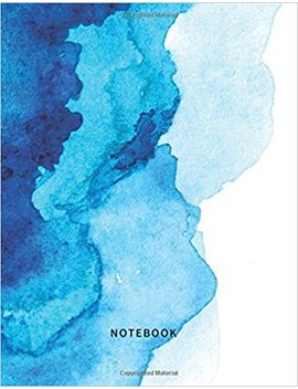 notebook:-dot-grid-design-bullet-journal---blue-ocean-watercolor---150-pages---large-(85-x-11-inches) by pelloa-journals