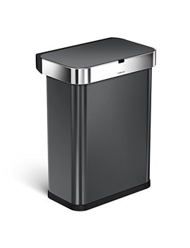 simplehuman-58-liter_153-gallon-58l-stainless-steel-touch-free-rectangular-kitchen-sensor-trash-can-with-voice-and-motion-sensor,-voice-activated,-black-stainless-steel by simplehuman