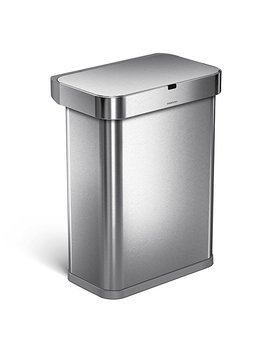simplehuman-58-liter_153-gallon-58l-stainless-steel-touch-free-rectangular-kitchen-sensor-trash-can-with-voice-and-motion-sensor,-voice-activated,-brushed-stainless-steel by simplehuman
