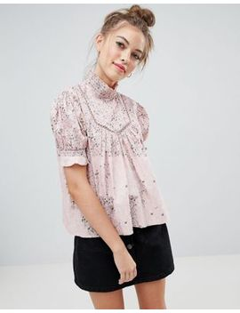 wednesdays-girl-blouse-with-frill-collar-in-ditsy-floral by wednesdays-girl