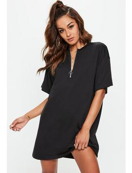 black-oversized-zip-front-t-shirt-dress by missguided