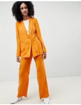gestuz-orange-blazer-with-feather-pattern by gestuz