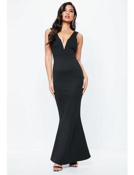 black-v-plunge-maxi-dress by missguided
