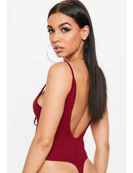 red-strappy-lace-up-knitted-bodysuit by missguided