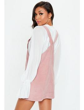 pink-cord-pinafore-dress by missguided