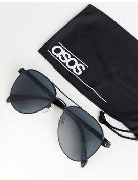 asos-design-aviator-sunglasses-in-black-metal-with-smoke-lens by asos-design