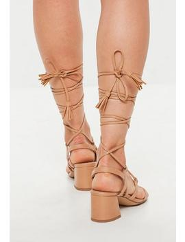 tan-mid-block-heel-ghillie-sandals by missguided