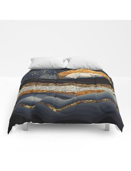 metallic-mountains-comforters by spacefrogdesigns
