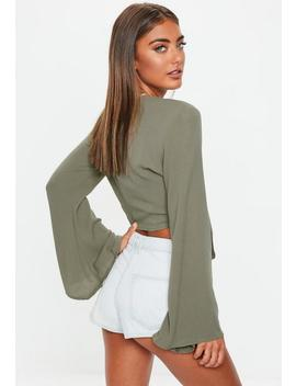 khaki-tie-front-flare-sleeve-crop-top by missguided