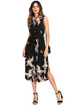 milumia-womens-button-up-print-sleeveless-collar-chiffon-dress by milumia