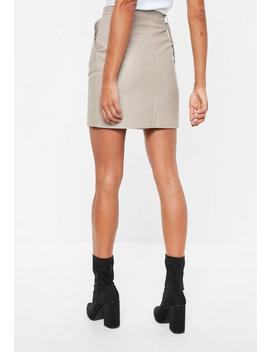 grey-faux-leather-chain-detail-mini-skirt by missguided