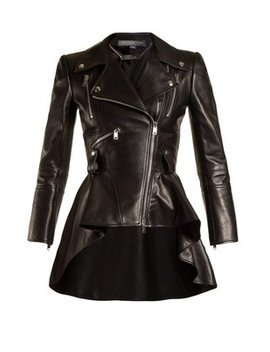 waterfall-peplum-hem-leather-jacket by alexander-mcqueen