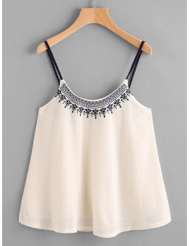 embroidered-chiffon-cami-top by shein