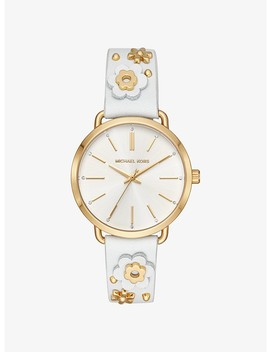 Portia Floral Appliqué Leather And Gold Tone Watch by Michael Kors