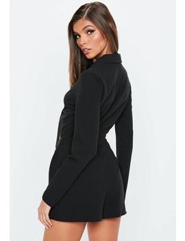 black-long-sleeve-tie-front-lapel-playsuit by missguided